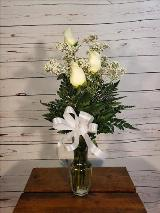 3 White Roses in a Vase by Davis Floral Comany, your Brownwood, Texas (TX) Florist