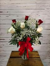 6 Red & White Roses in a Vase by Davis Floral Comany, your Brownwood, Texas (TX) Florist