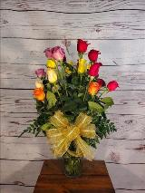 Roses, 2 dozen roses, mixed colors, pink, red, yellow, purple by Davis Floral Comany, your Brownwood, Texas (TX) Florist