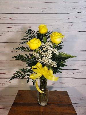 3 Yellow Roses In A Vase by Davis Floral Comany, your Brownwood, Texas (TX) Florist