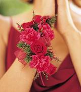 Hot Pink & Red Wristlet by Davis Floral Comany, your Brownwood, Texas (TX) Florist