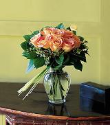 Nine Peach Roses by Davis Floral Comany, your Brownwood, Texas (TX) Florist