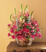 Basket with Mixed Pinks by Davis Floral Comany, your Brownwood, Texas (TX) Florist