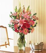 Mixed Pinks in Clear Glass by Davis Floral Comany, your Brownwood, Texas (TX) Florist