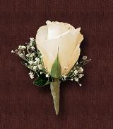 Traditional White Rose Boutonniere by Davis Floral Comany, your Brownwood, Texas (TX) Florist