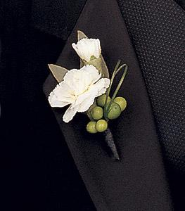 Carnation & Foliage Boutonniere by Davis Floral Comany, your Brownwood, Texas (TX) Florist